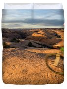 Woman Mountain Biking, Moab, Utah Duvet Cover