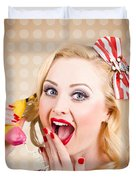 Woman On Banana Telephone. Health Eating News Duvet Cover