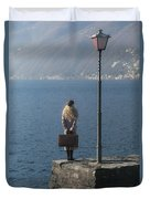 Woman On Jetty Duvet Cover