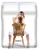 Woman Posing On Chair Duvet Cover