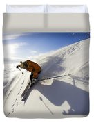Woman Skiing At Sunset, Chile Duvet Cover