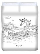 Woman Speaks To Man In A Pool With The Lochness Duvet Cover by Michael Maslin