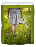 Woman Walking Through A Wild Flower Meadow With A Basket Of Flow Duvet Cover