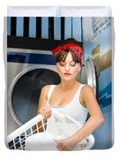 Woman Washing Clothes Duvet Cover