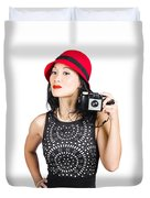 Woman With An Old Camera Duvet Cover