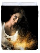 Woman With Angle Grinder Spraying Sparks Duvet Cover
