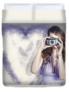 Woman With Camera. Love In A Still Frame Capture Duvet Cover