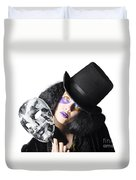 Woman With Mask Duvet Cover