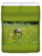 Woman With Military Helmet Duvet Cover