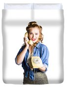 Woman With Retro Telephone Duvet Cover