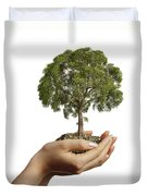 Womans Hands Holding Soil With A Tree Duvet Cover