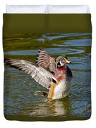 Wood Duck Drake Flapping Wings Duvet Cover