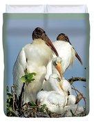 Wood Stork With Nestlings Duvet Cover