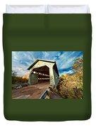 Wooden Covered Bridge  Duvet Cover