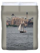 Wooden Ship On The Water Duvet Cover