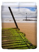 Wooden Slipway Rhos On Sea Duvet Cover