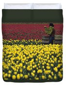Worker Carrying Tulips Duvet Cover