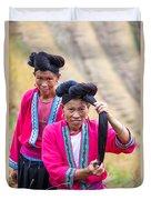Yao Ethnic Minority Women On Rice Terrace Guilin China Duvet Cover