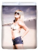 Young Attractive Travel Woman At Beach Duvet Cover