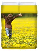 Young Boy Running Through Field Of Duvet Cover
