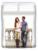 Young Couple Bridge Duvet Cover