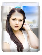 Young Pretty Business Travel Woman With Luggage Duvet Cover