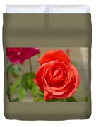 Young Red Rose After Rain Duvet Cover