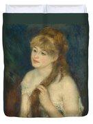Young Woman Braiding Her Hair Duvet Cover