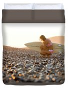 Young Woman Walking On Beach Duvet Cover