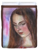 Young Woman Watercolor Portrait Painting Duvet Cover by Svetlana Novikova