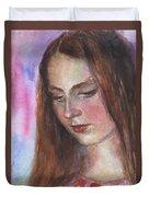 Young Woman Watercolor Portrait Painting Duvet Cover