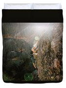 A Man Rock Climbing In Pinnacles Duvet Cover