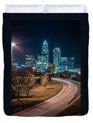 Charlotte City Skyline Night Scene Duvet Cover