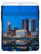 Fx2l-516 Columbus Ohio Night Skyline Photo Duvet Cover