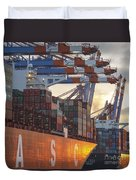 Hamburg Harbor Container Terminal Duvet Cover