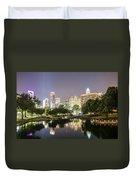Skyline Of Uptown Charlotte North Carolina At Night Duvet Cover
