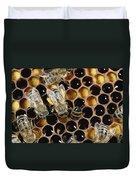 Honey Bees On Honeycomb Duvet Cover