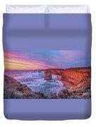 12 Apostles At Sunset Pano Duvet Cover