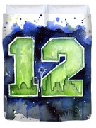 12th Man Seahawks Art Seattle Go Hawks Duvet Cover