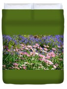 Background Of Colorful Flowers Duvet Cover