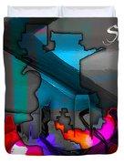 Sacramento Map And Skyline Watercolor Duvet Cover