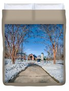 Snow Around Billy Graham Library After Winter Storm Duvet Cover