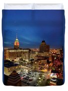 High Angle View Of Buildings Lit Duvet Cover