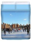 Ice Skating At Hampton Court Palace Ice Rink England Uk Duvet Cover