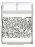 1576 Zurich Switzerland Map Duvet Cover