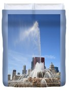 Chicago Skyline And Buckingham Fountain Duvet Cover