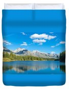 Lake With Mountains In The Background Duvet Cover