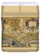 1606 Hondius And Mercator Map Of Mexico Geographicus Hispaniae Nova Mexico Mercator 1606 Duvet Cover