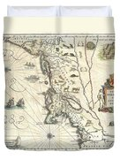 1635 Blaeu Map Of New England And New York Duvet Cover by Paul Fearn