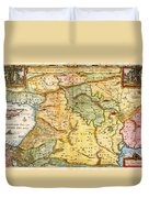1657 Visscher Map Of The Holy Land Or The Earthly Paradise Geographicus Gelengentheyt Visscher 1657 Duvet Cover